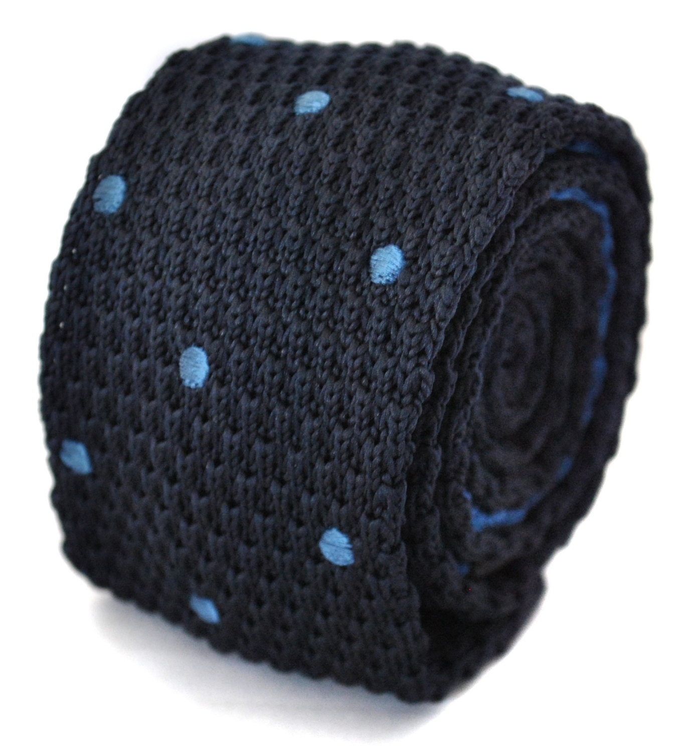knitted navy and blue spotted skinny tie by Frederick Thomas FT1184