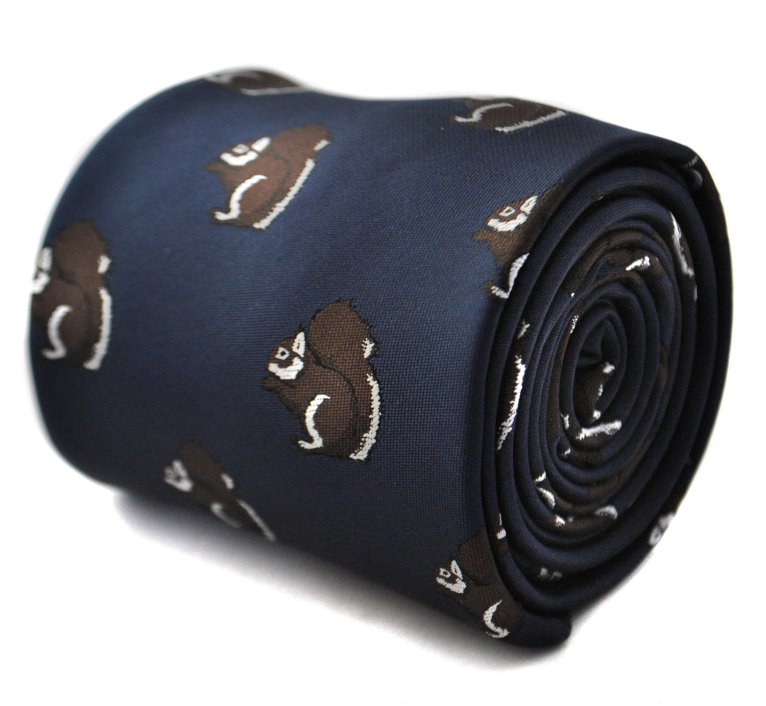 Navy tie with squirrel design with signature floral design to the rear by Freder