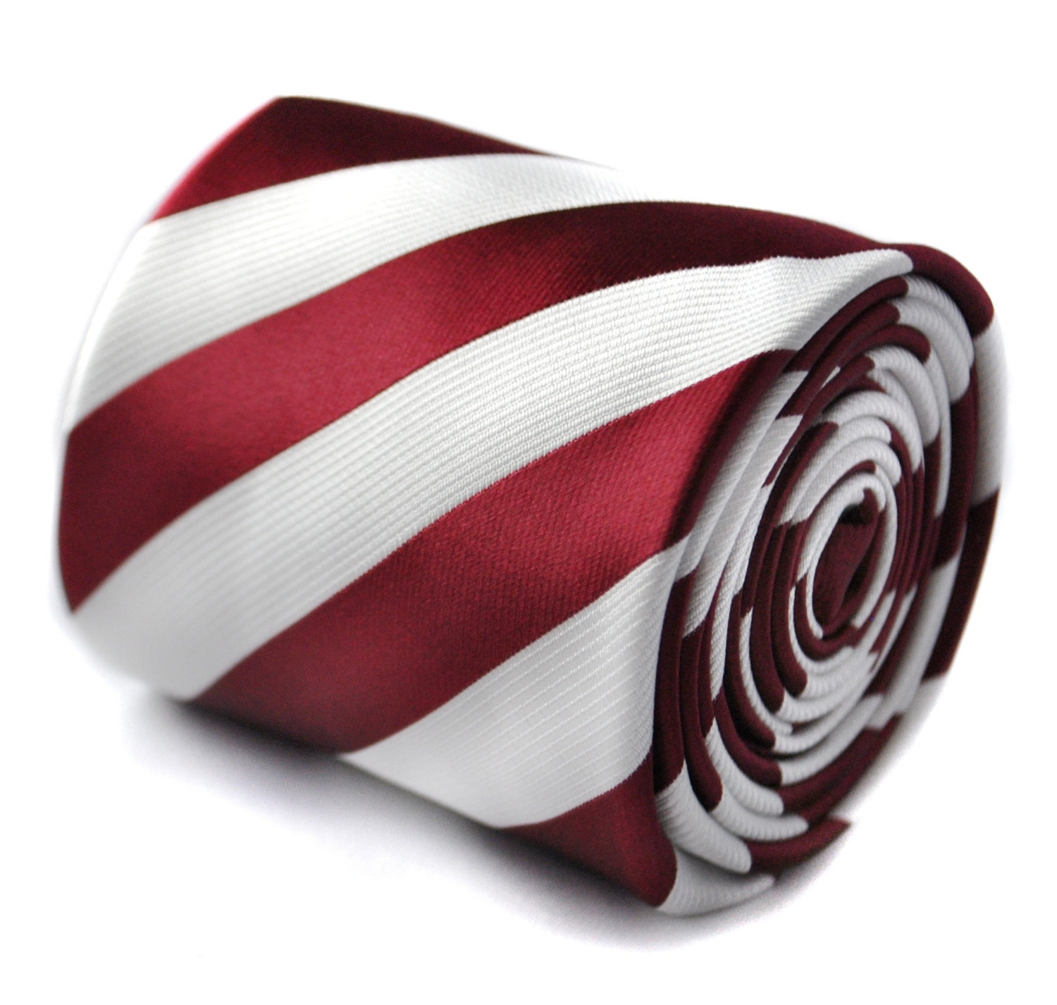 maroon and white striped tie with floral design to the rear by Frederick Thomas