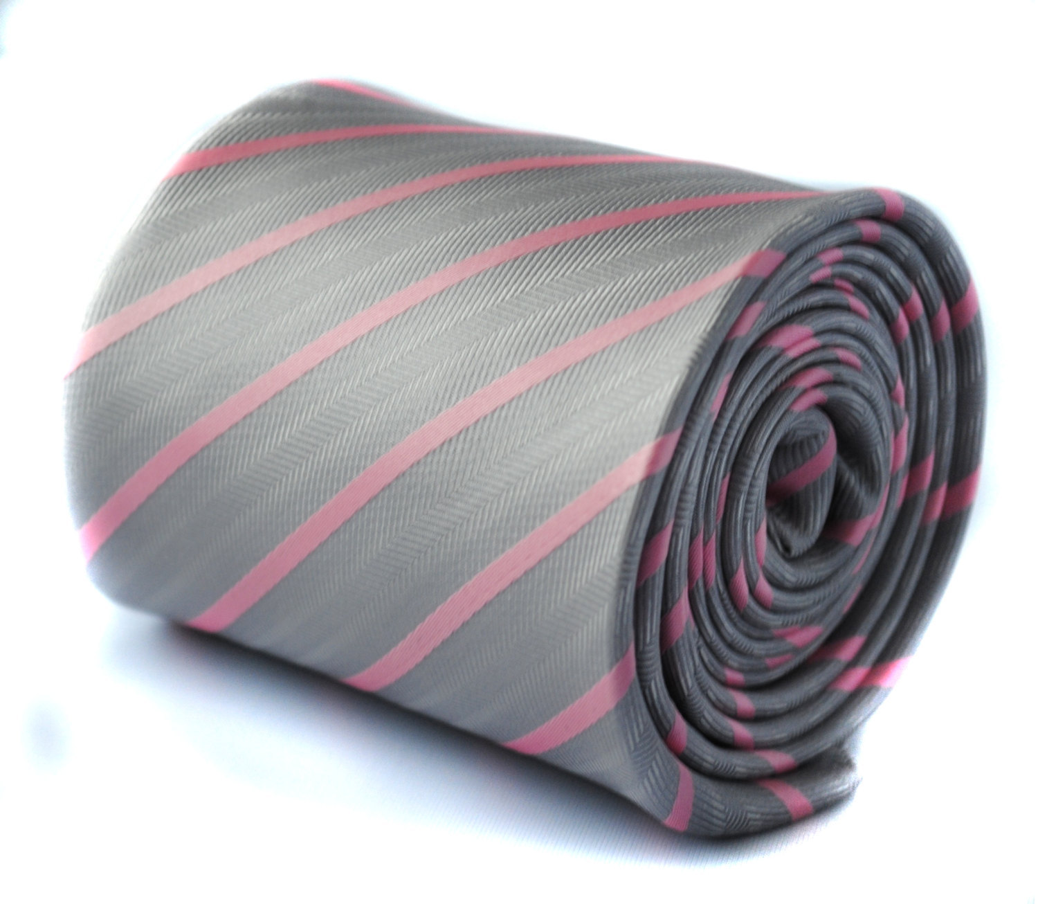 grey textured tie with pink stripe with signature floral design to the rear by F
