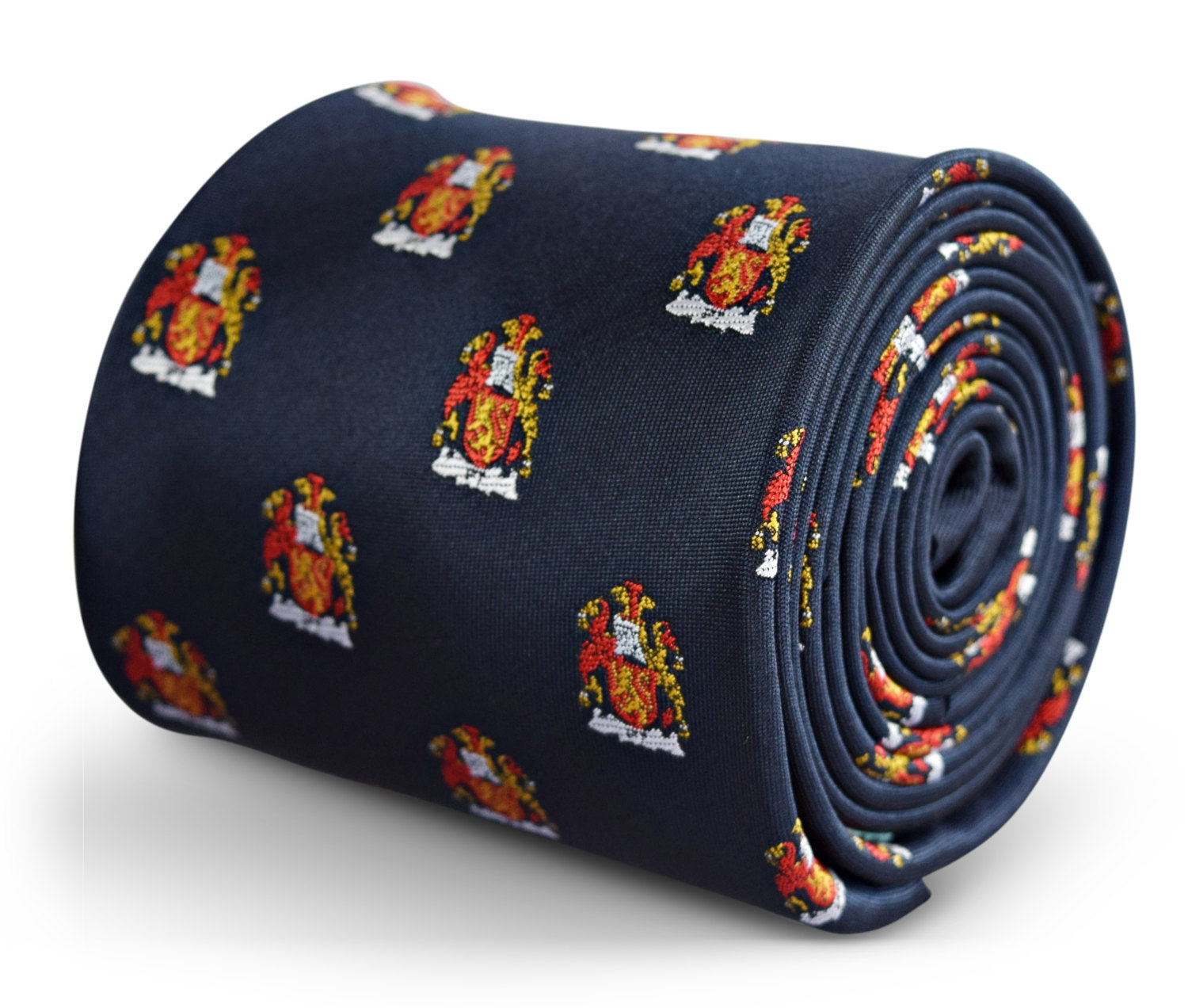 navy blue tie with coat of arms embroidered design with signature floral design