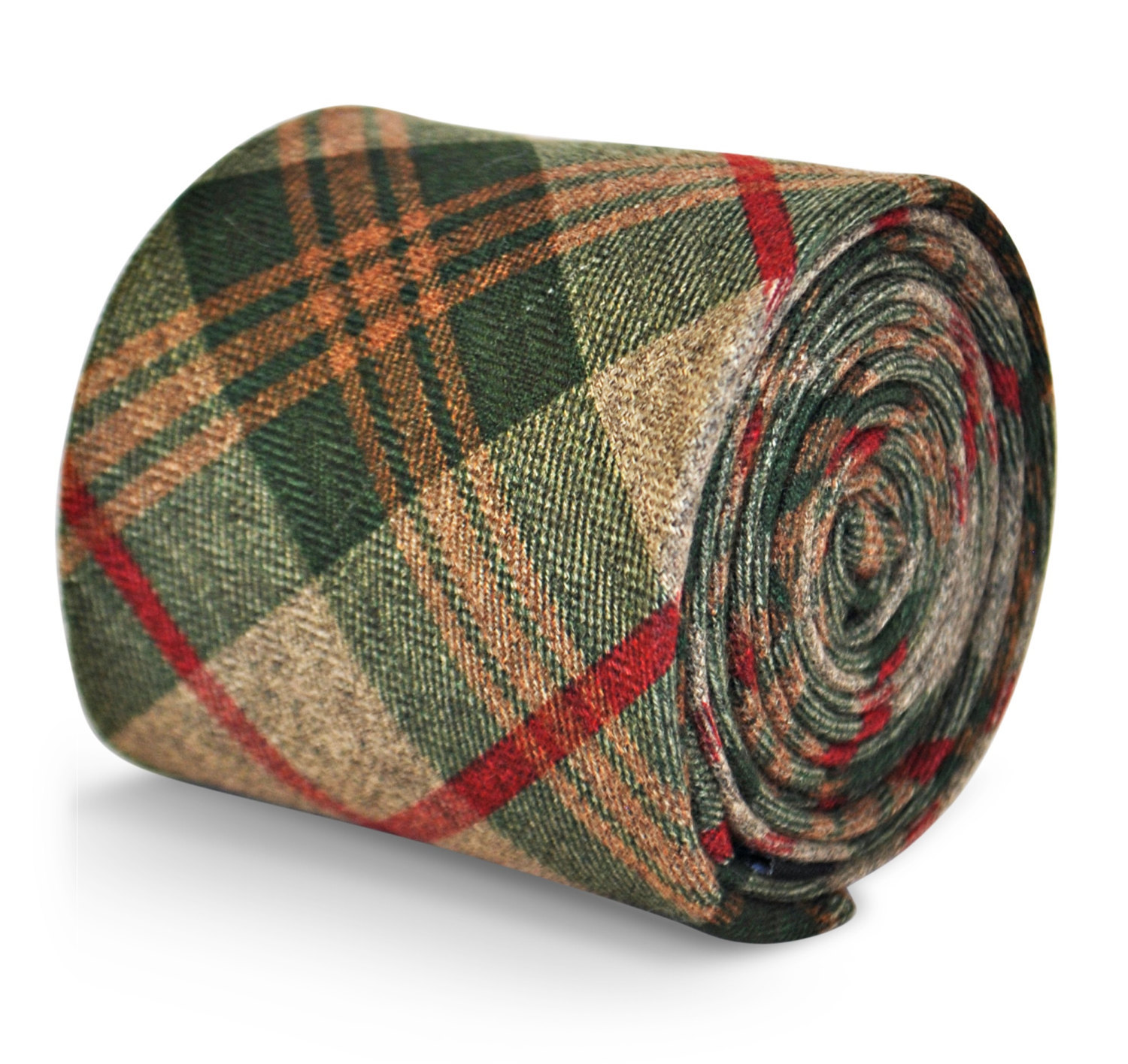 Frederick Thomas mens wool tweed tie in green, brown & red check FT3144