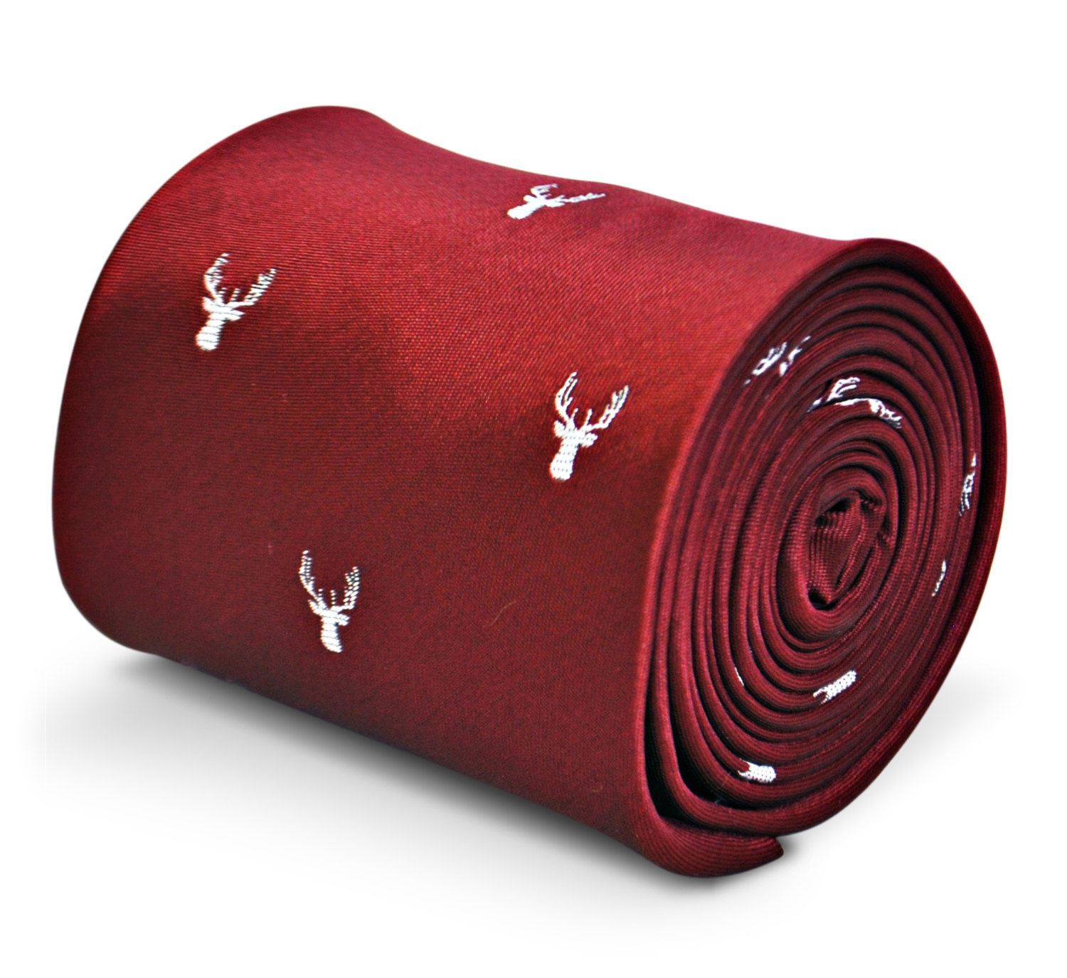 burgundy maroon tie with white deer head design with signature floral design to