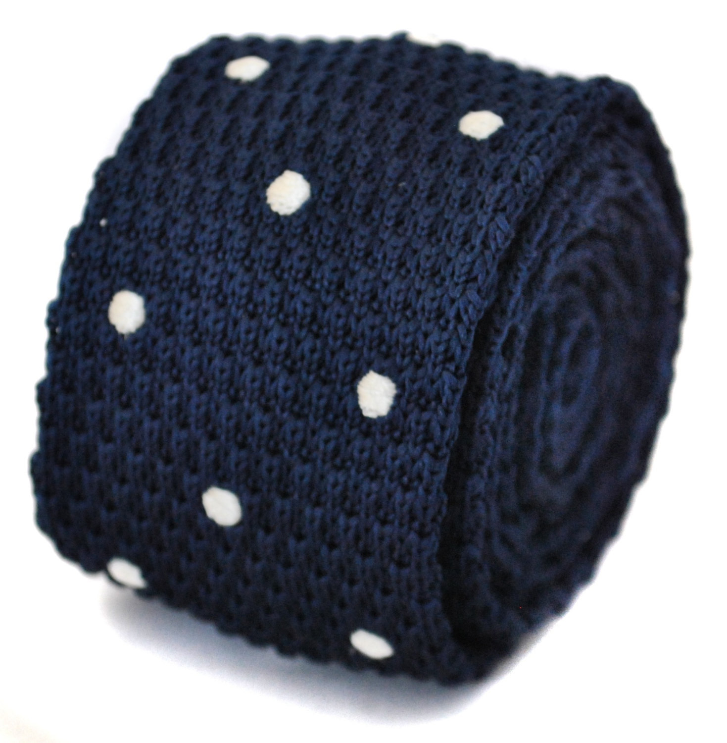 knitted navy and white spotted skinny tie in pointed end by Frederick Thomas FT1