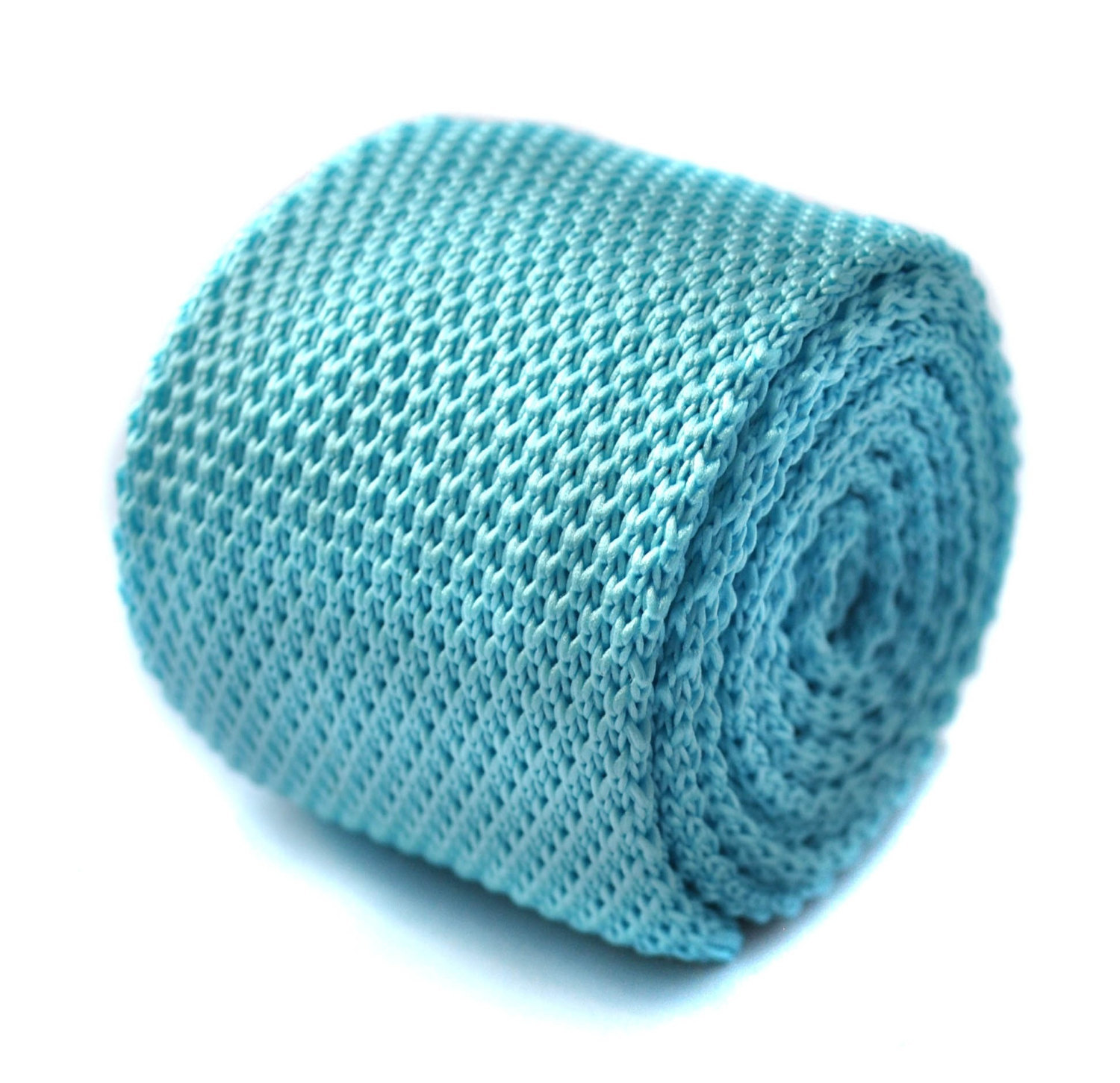 turquoise blue plain knitted skinny tie by Frederick Thomas FT293