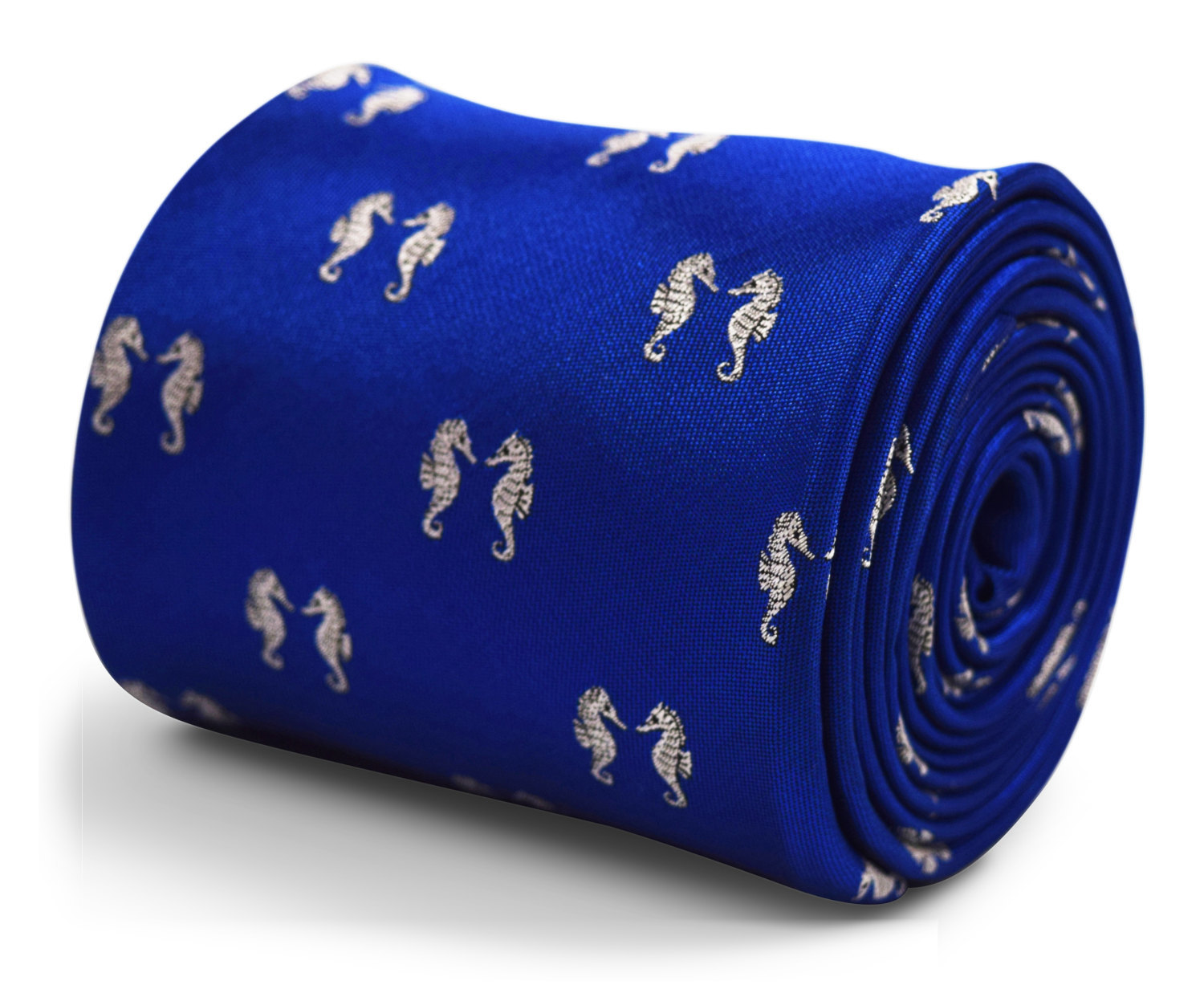 royal blue tie with symmetrical seahorse embroidered design with signature flora