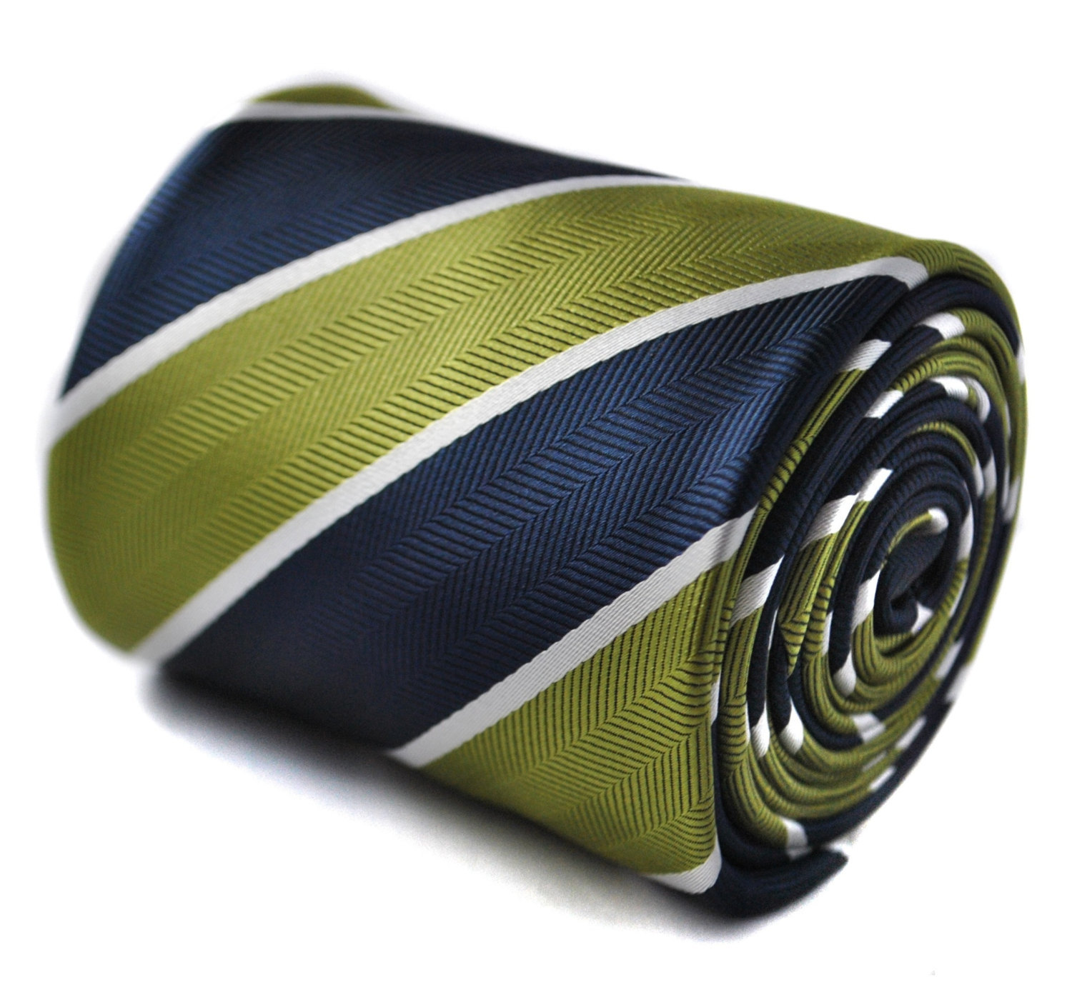 lime green, navy and white barber striped tie with floral design to the rear by