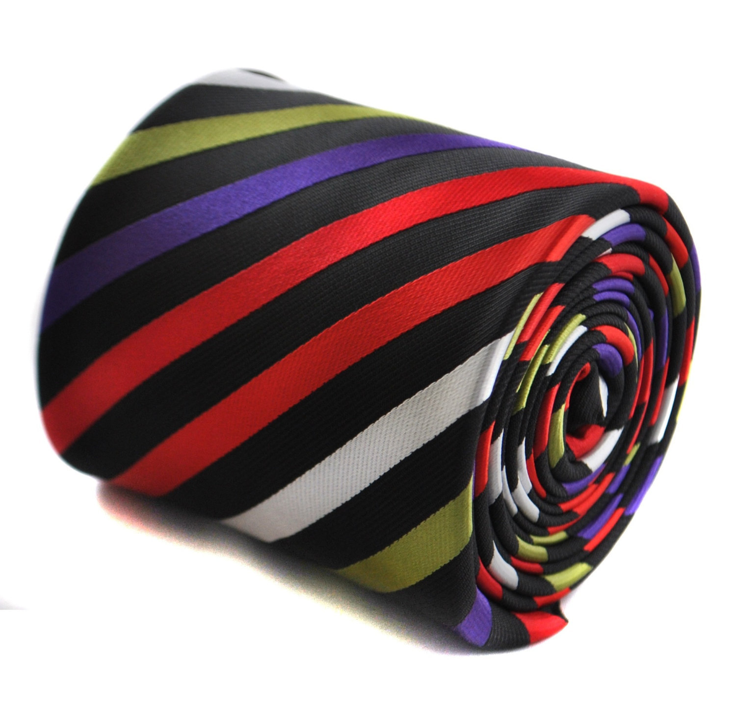 navy and multicoloured striped tie with floral design to the rear by Frederick T