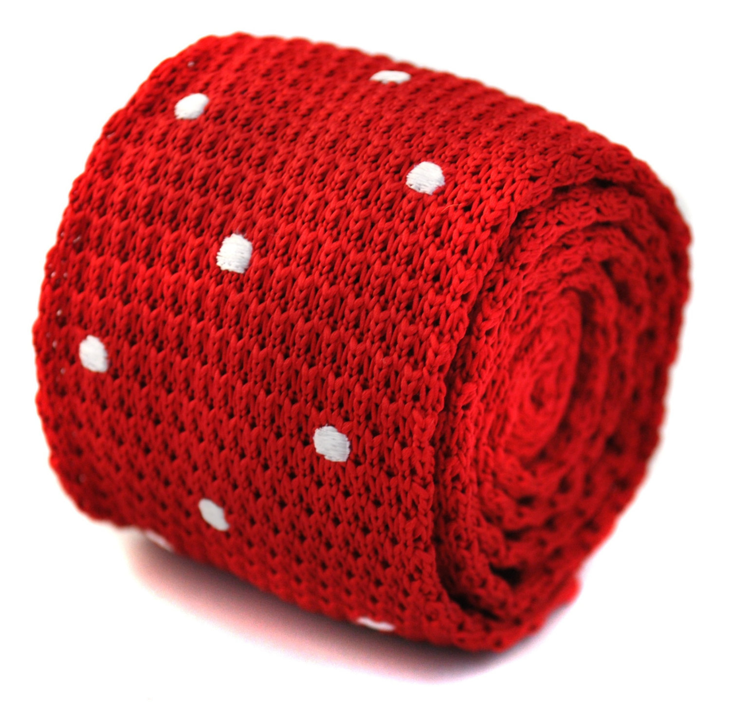 knitted red and white spotted skinny tie by Frederick Thomas FT1169