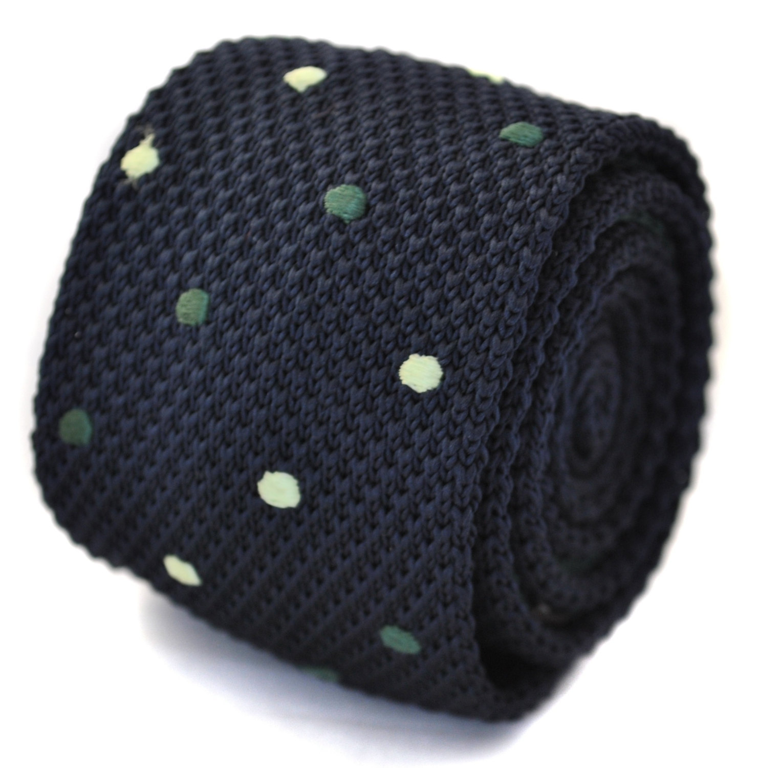 knitted navy and green spotted skinny tie by Frederick Thomas FT1182