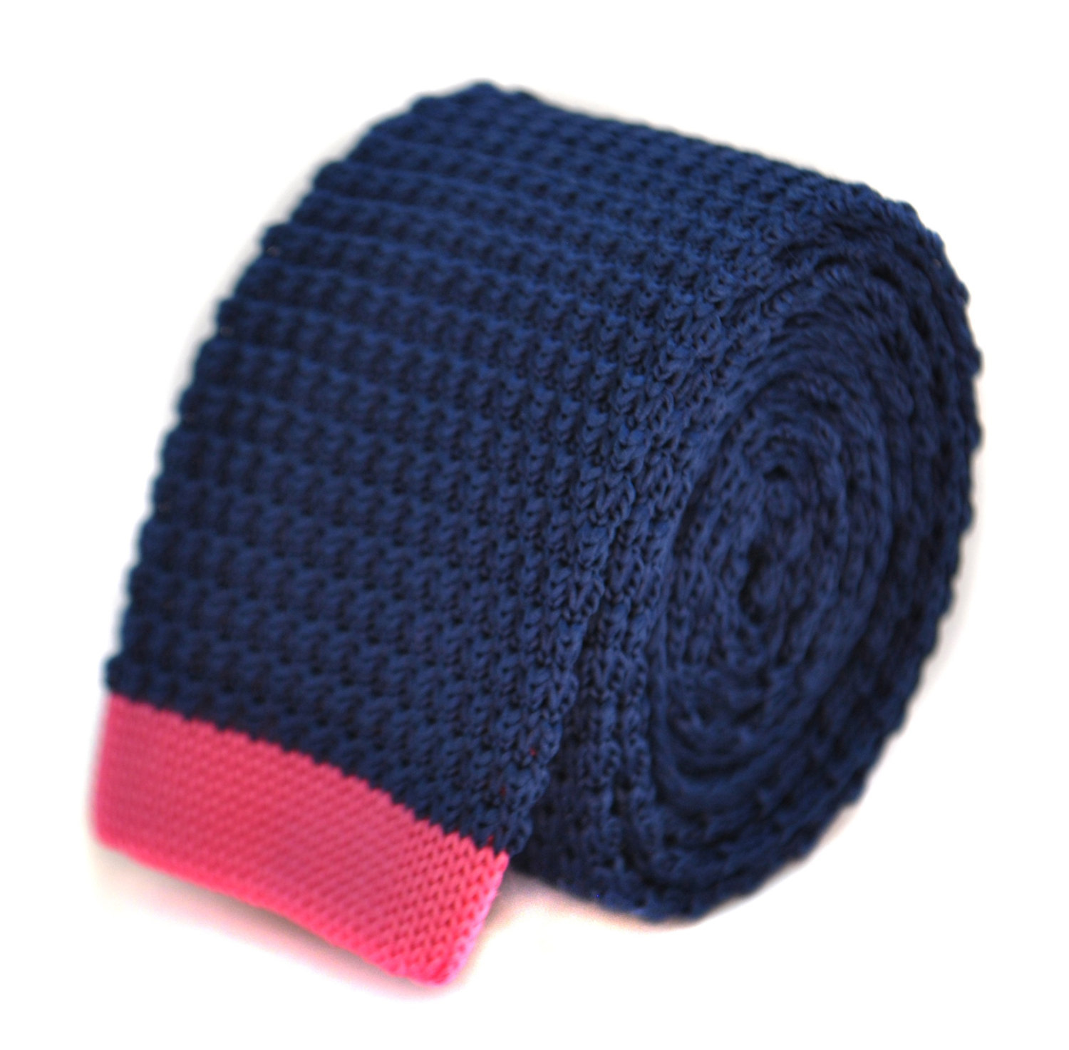 navy blue skinny knitted tie with bright pink tip by Frederick Thomas FT2020