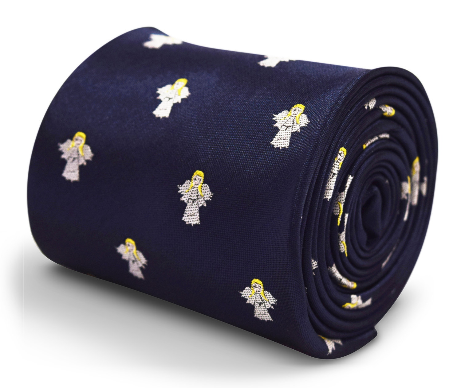 navy blue tie with angel embroidered design with signature floral design to the