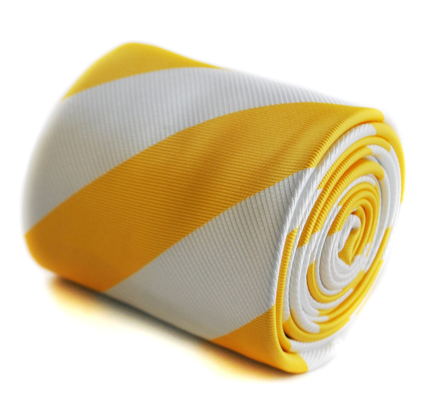 yellow and white barber striped tie with floral design to the rear by Frederick