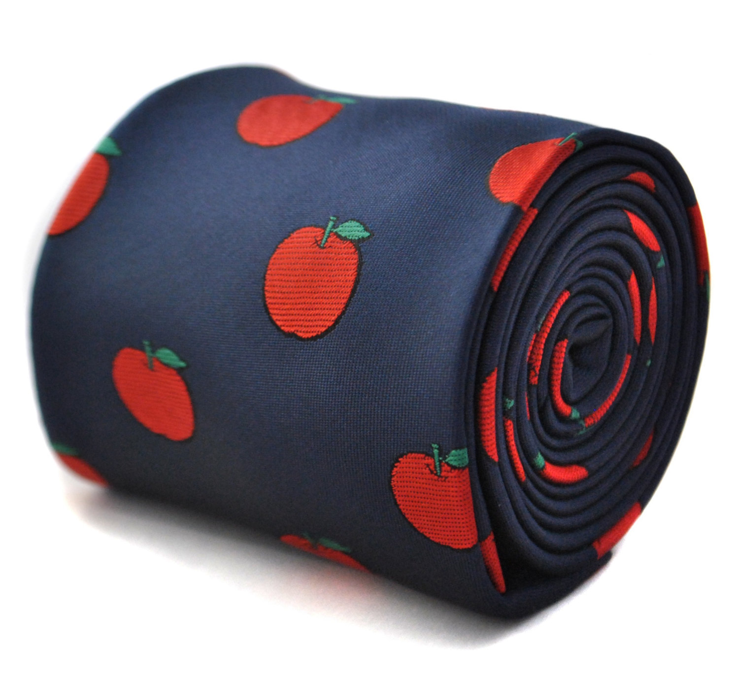 Navy tie with apple design with signature floral design to the rear by Frederick