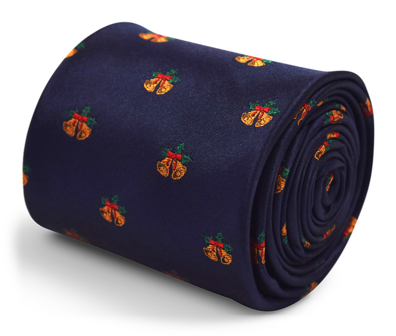 navy blue tie with bells embroidered design with signature floral design to the