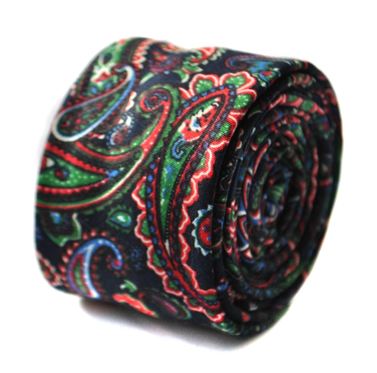 black and multicoloured paisley skinny linen tie by Frederick Thomas FT1649