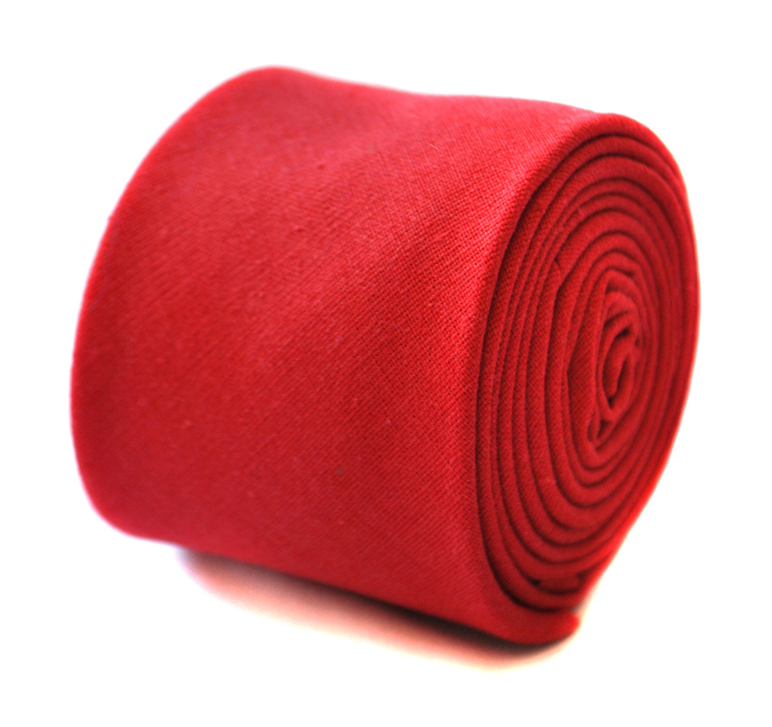skinny plain red linen tie by Frederick Thomas FT1907