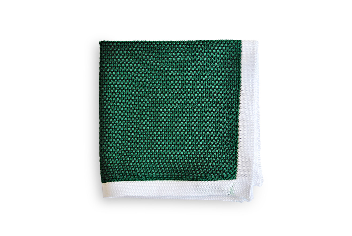 Frederick Thomas knitted dark green with white edging pocket square with white e