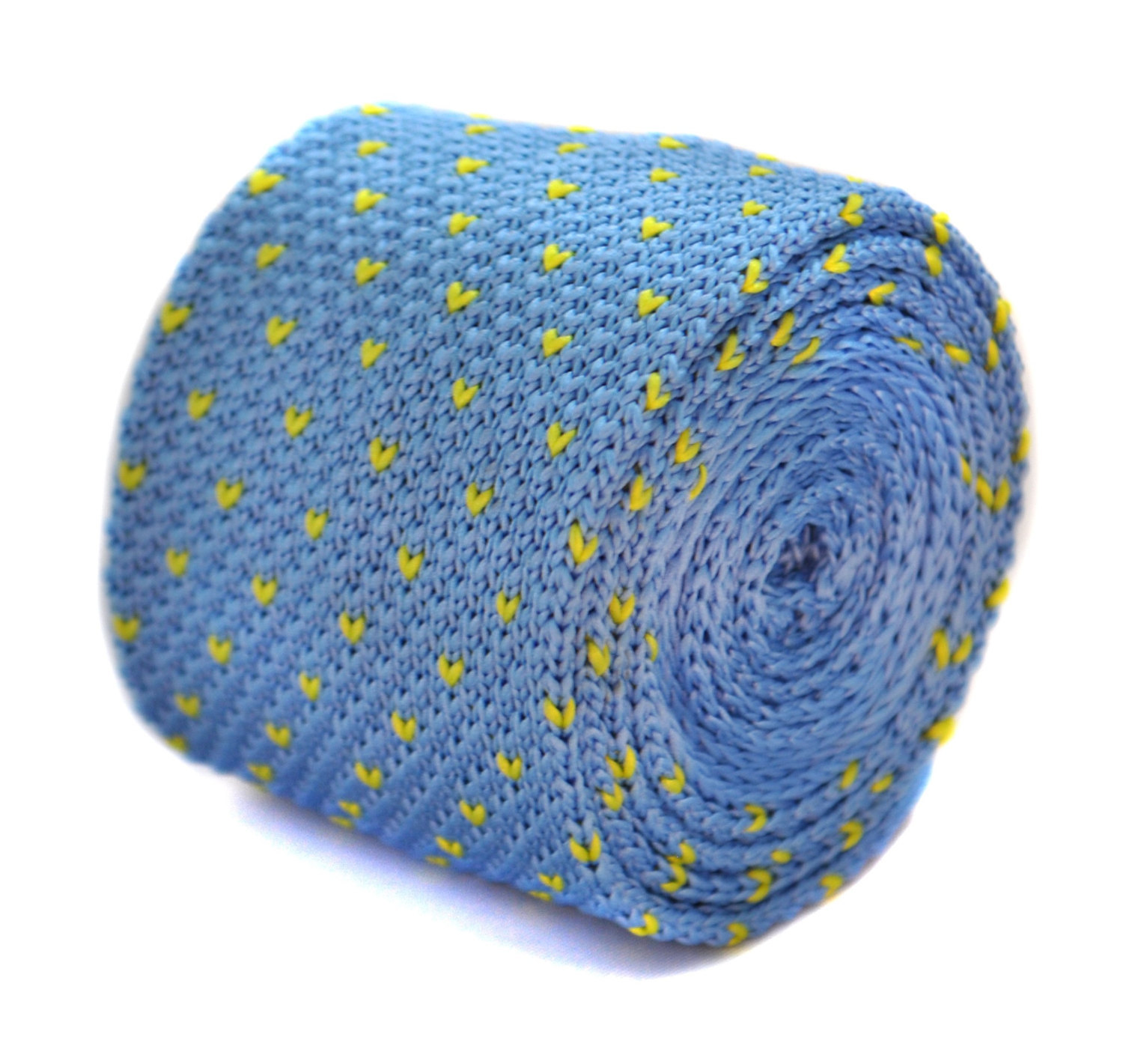light blue and yellow pin spot skinny knitted tie by Frederick Thomas FT2036