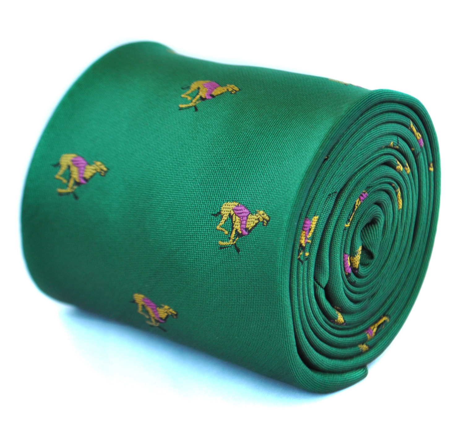 dark green with racing greyhound dog tie with signature floral design to rear by
