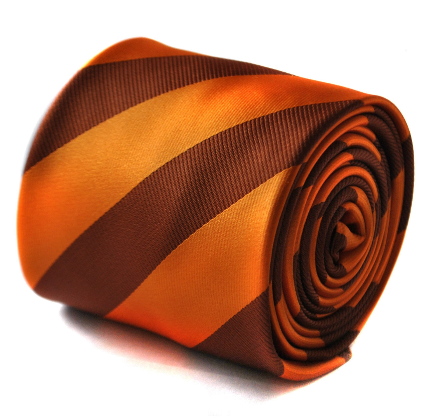 Orange and chocolate brown barber striped tie with signature floral design to th