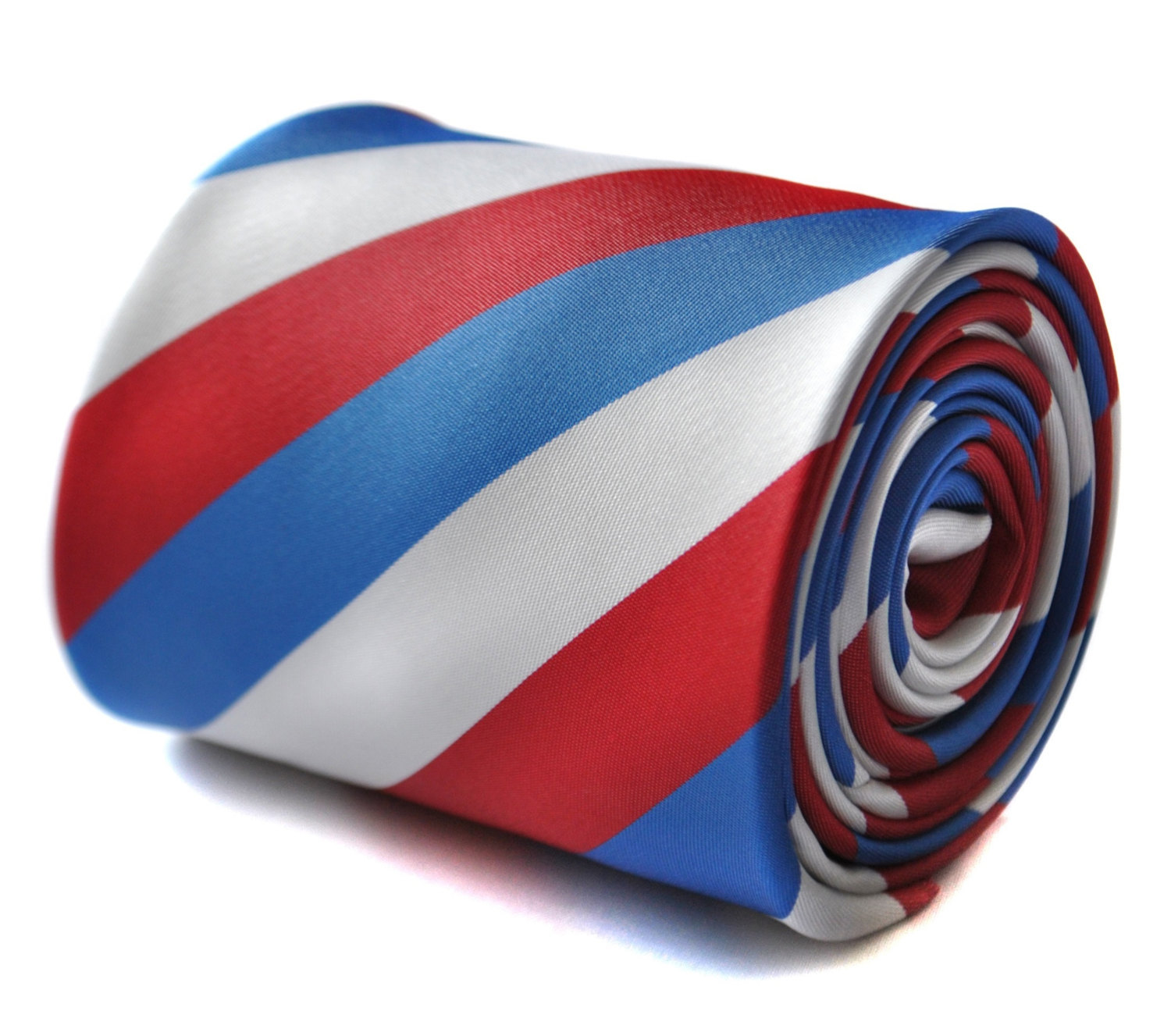 Red, blue and white striped tie with floral design to the rear by Frederick Thom