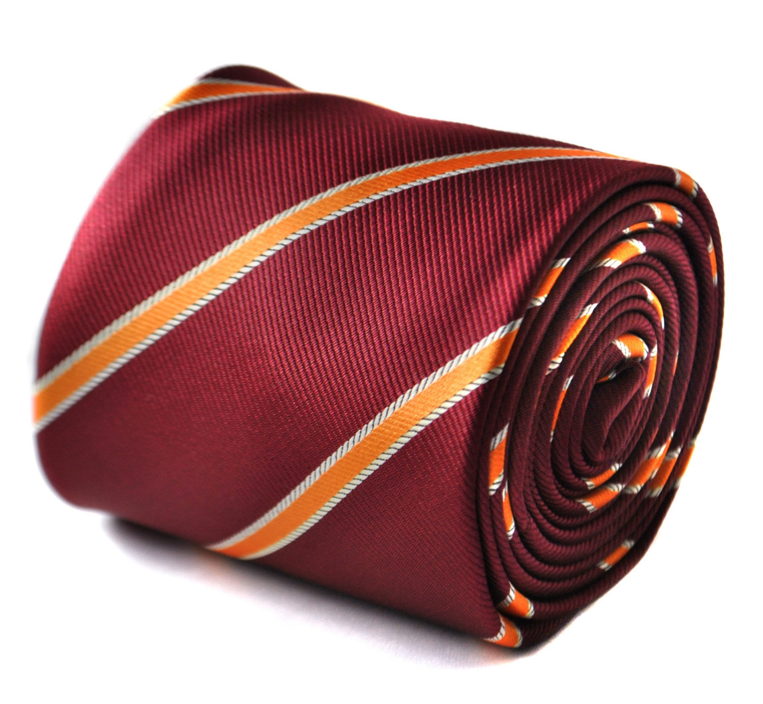maroon and orange ribbon striped tie with signature floral design to the rear by