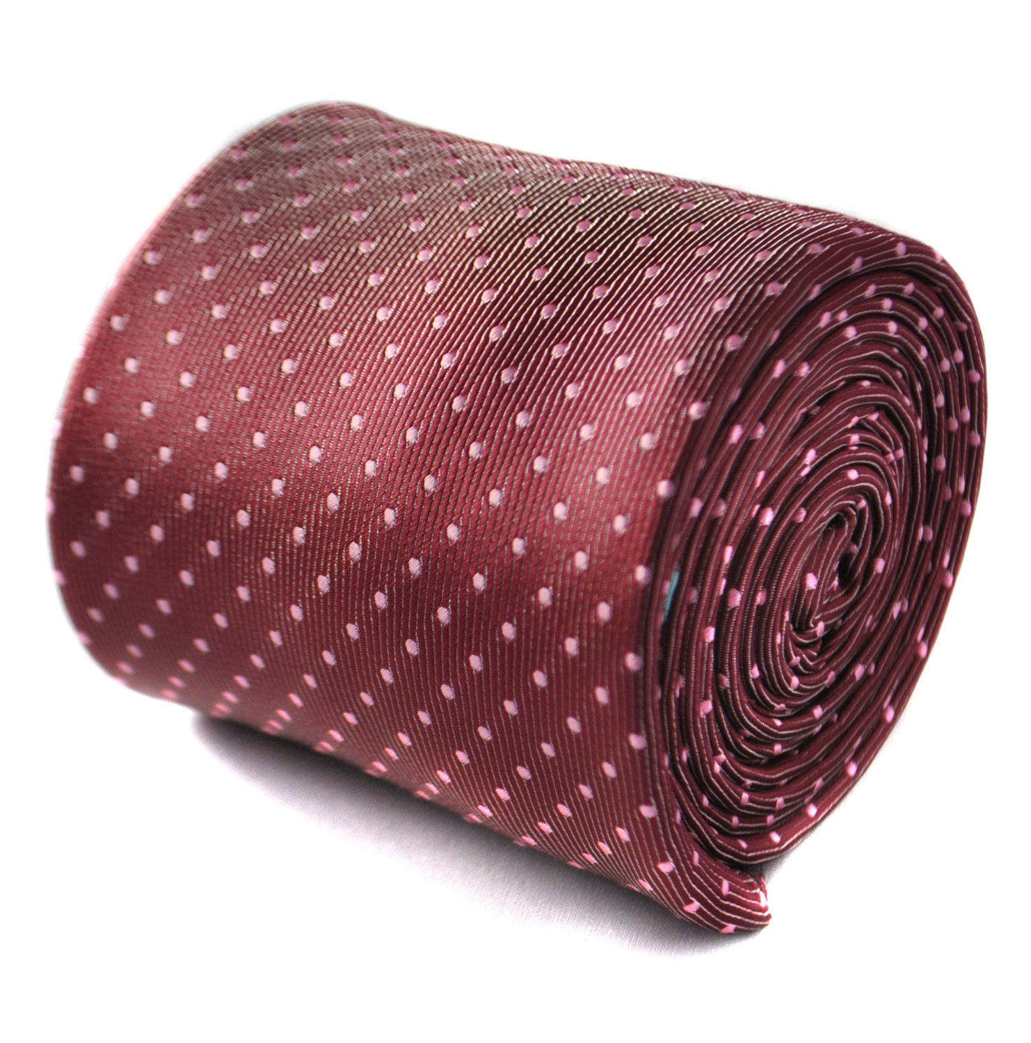 maroon red and white pin spot tie with floral design to the rear by Frederick Th