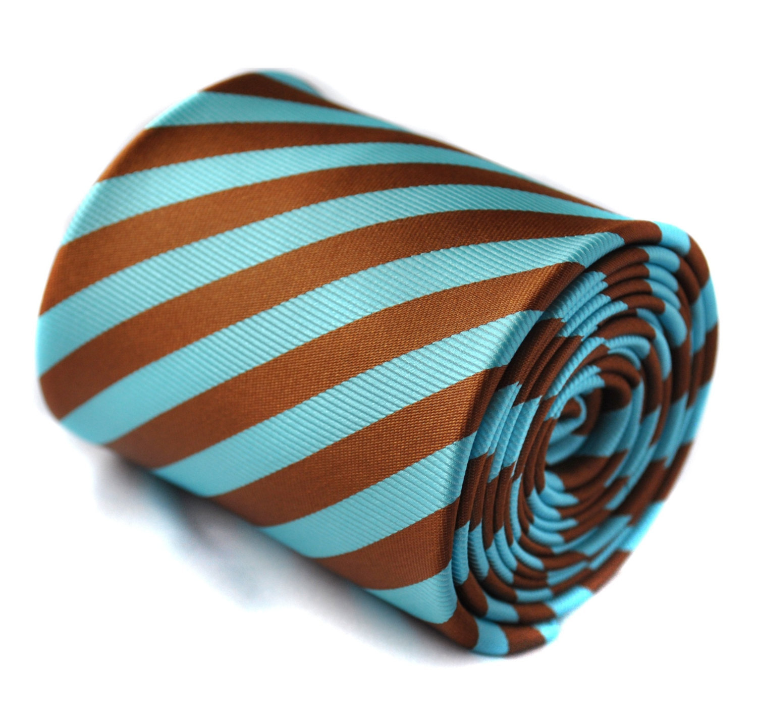 brown and turquoise striped tie with signature floral design to rear by Frederic