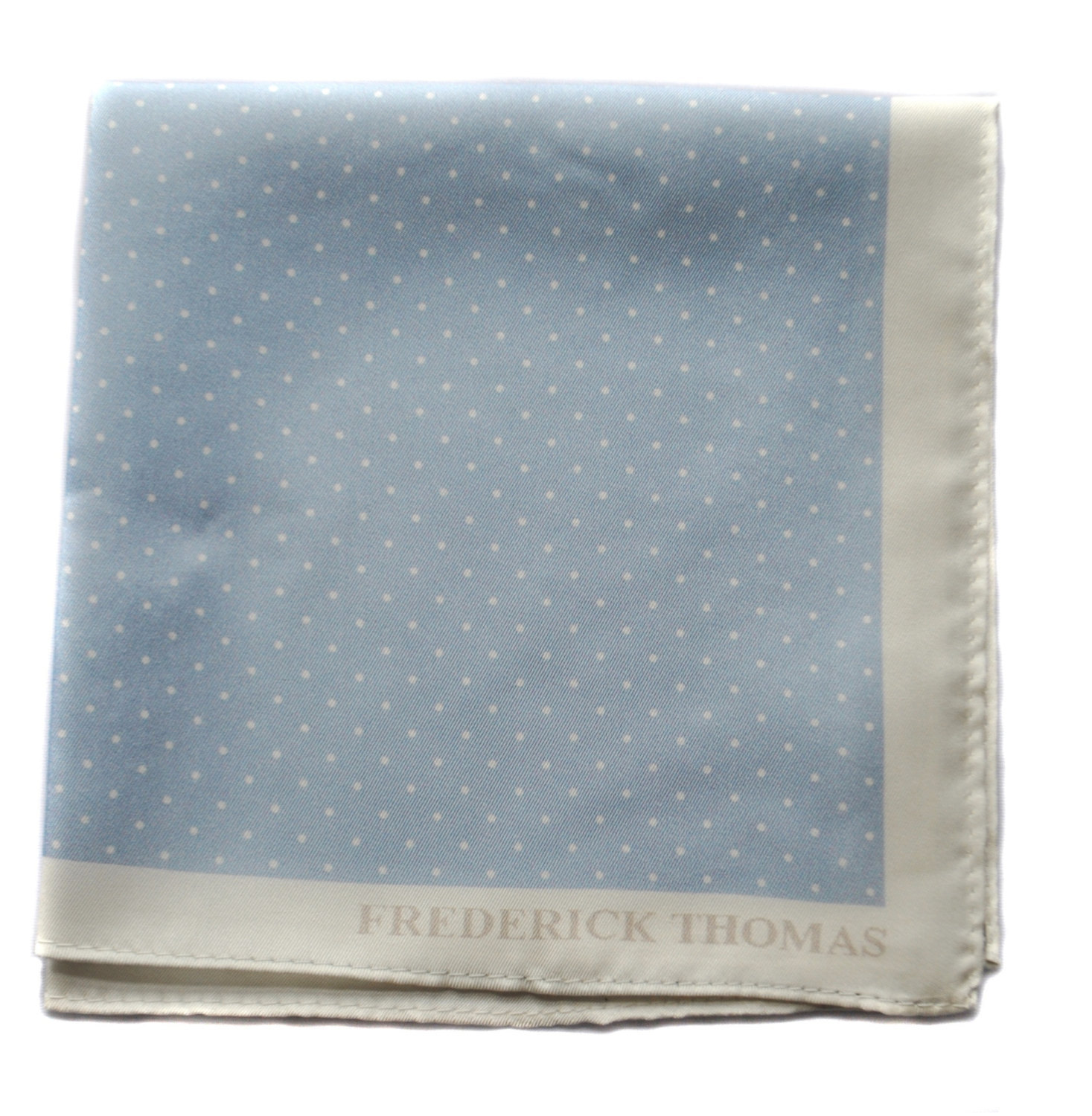 Frederick Thomas light blue and white pin spotted pocket square with white edgin