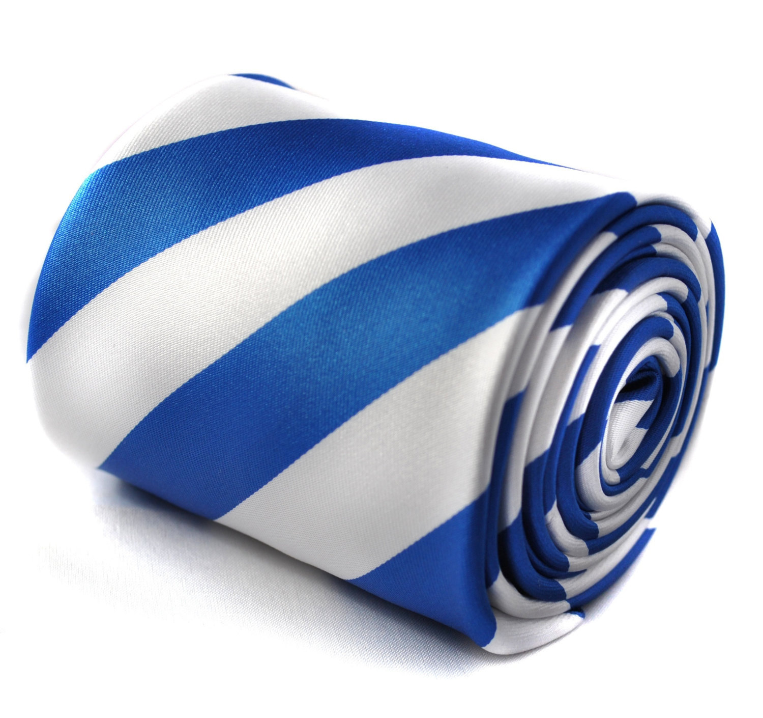 royal blue and white barber stripe tie with signature floral design to the rear
