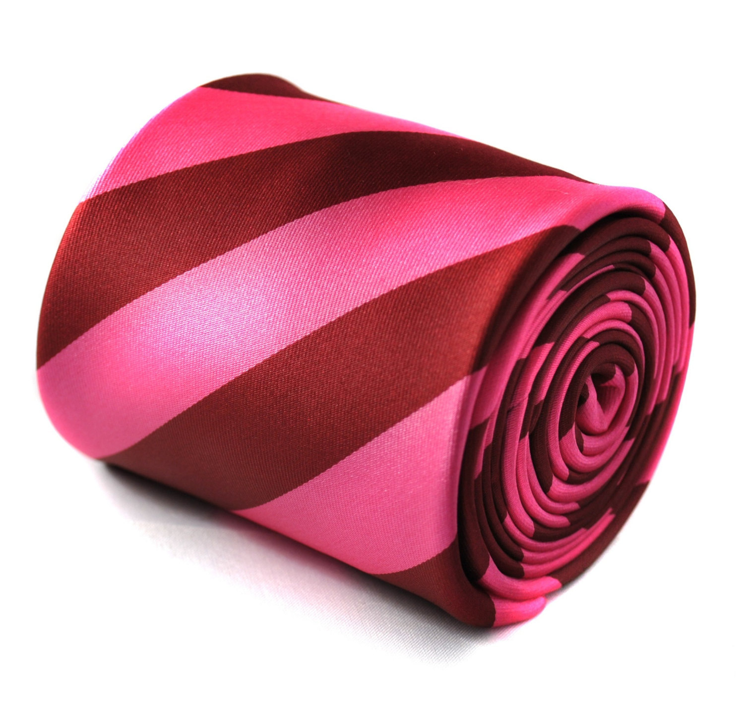 pink and red barber striped tie with signature floral design to the rear by Fred