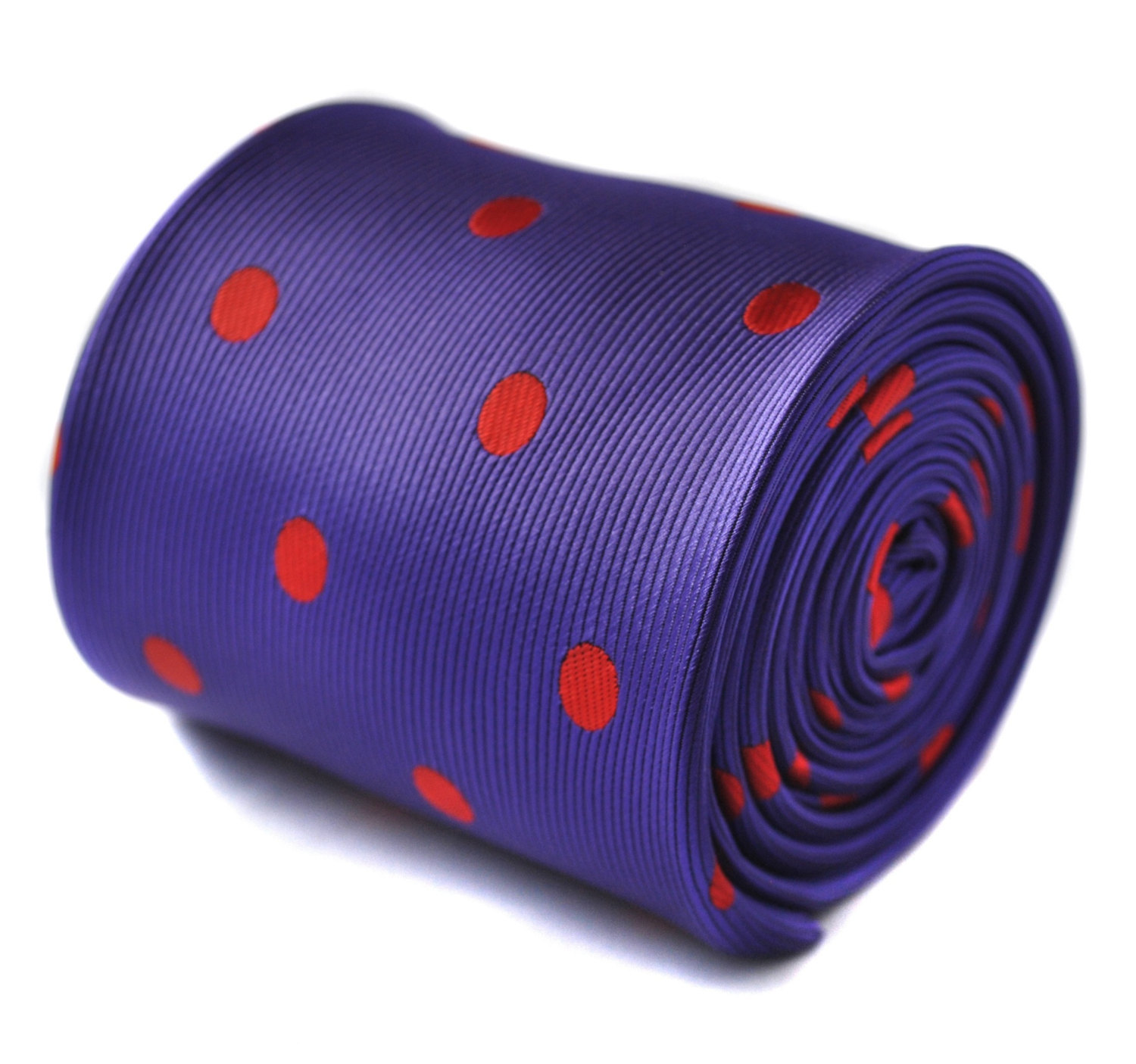 purple and red polka spot tie with signature floral design to the rear by Freder