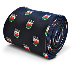 navy blue tie with welsh flag crest design with signature floral design to the r