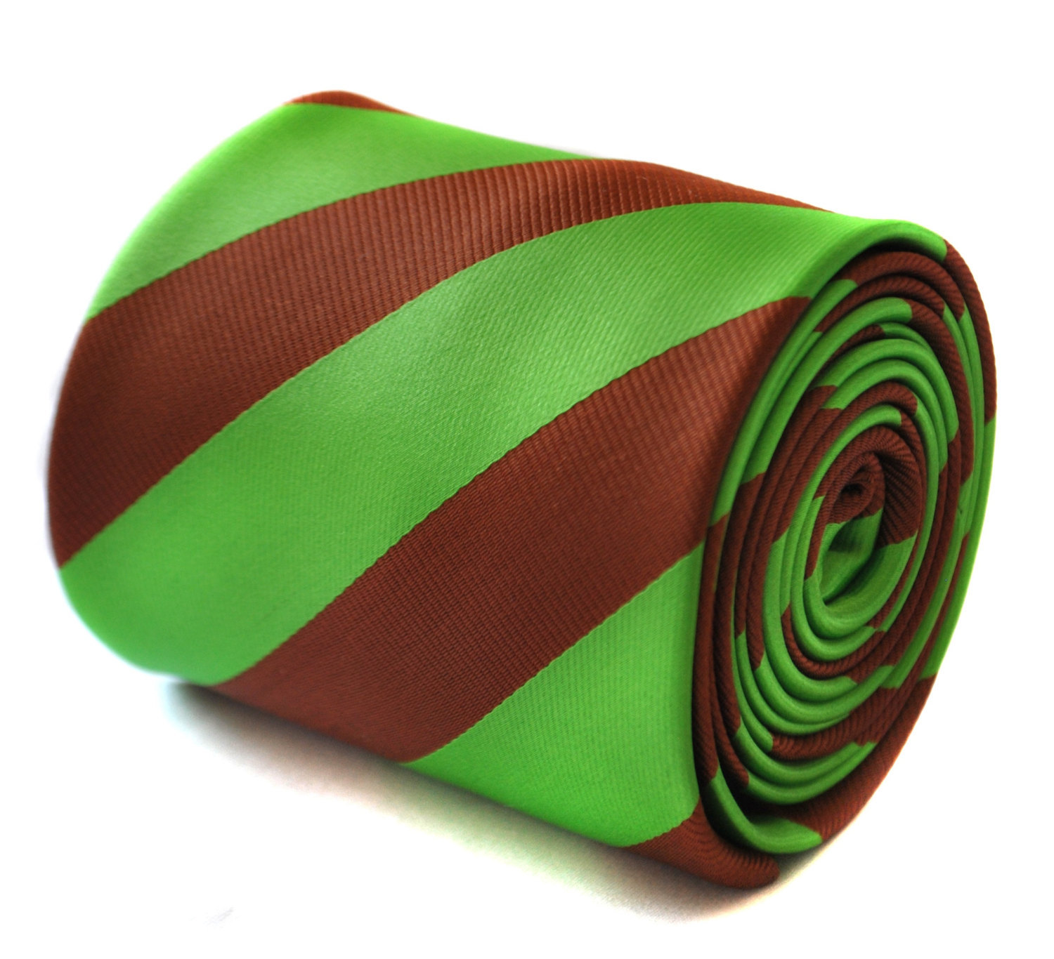 chocolate brown and bright apple green barber striped tie with floral design to