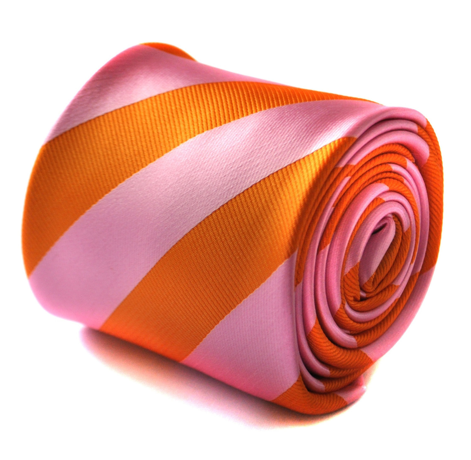 orange and pink barber striped tie with signature floral design to the rear by F