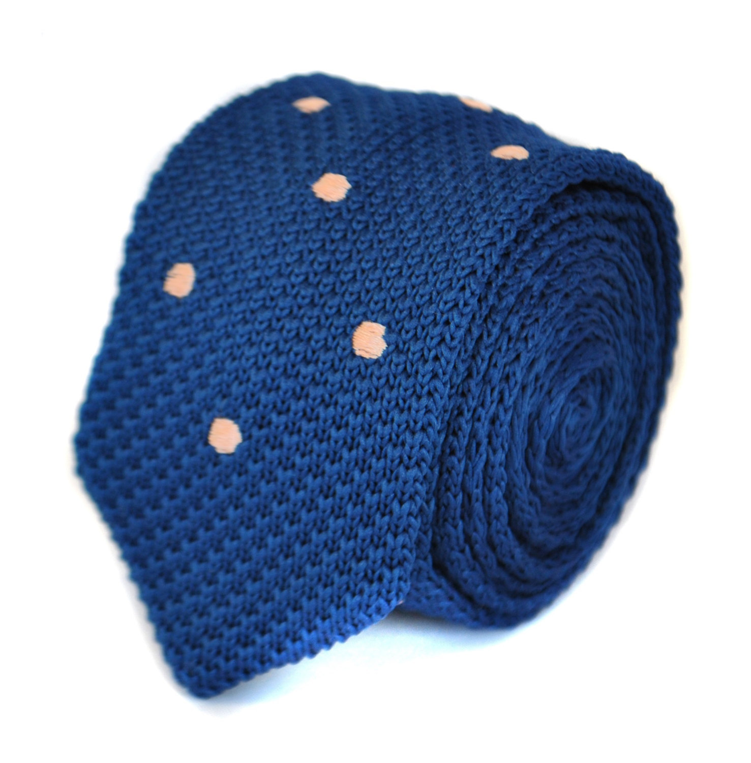 skinny navy blue knitted tie with pink polka spots by Frederick Thomas FT1859