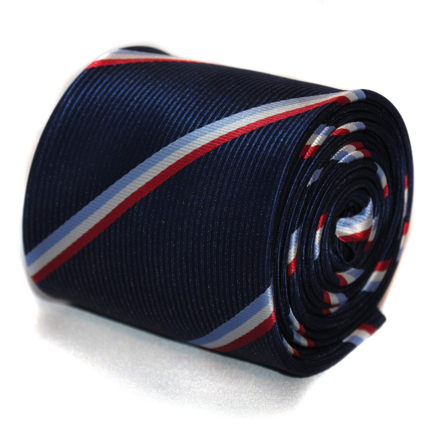 navy blue with red, light blue and white striped tie with floral design to the r