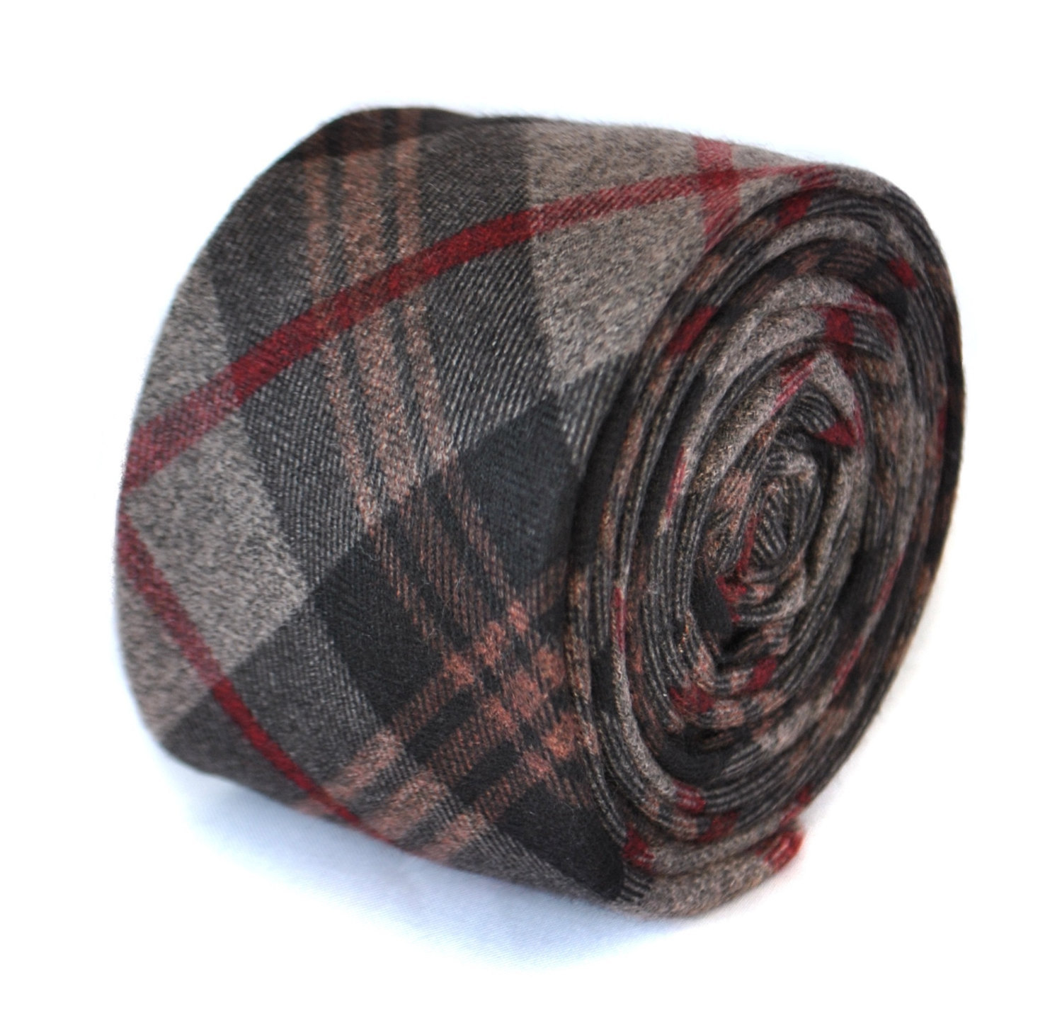 red, grey and brown 100% wool tweed check tie by Frederick Thomas FT2079