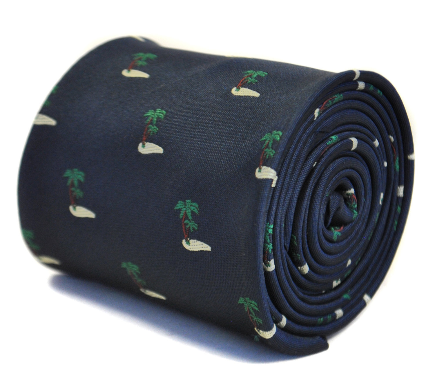 navy blue tie with embroidered palm tree desert island design with signature flo