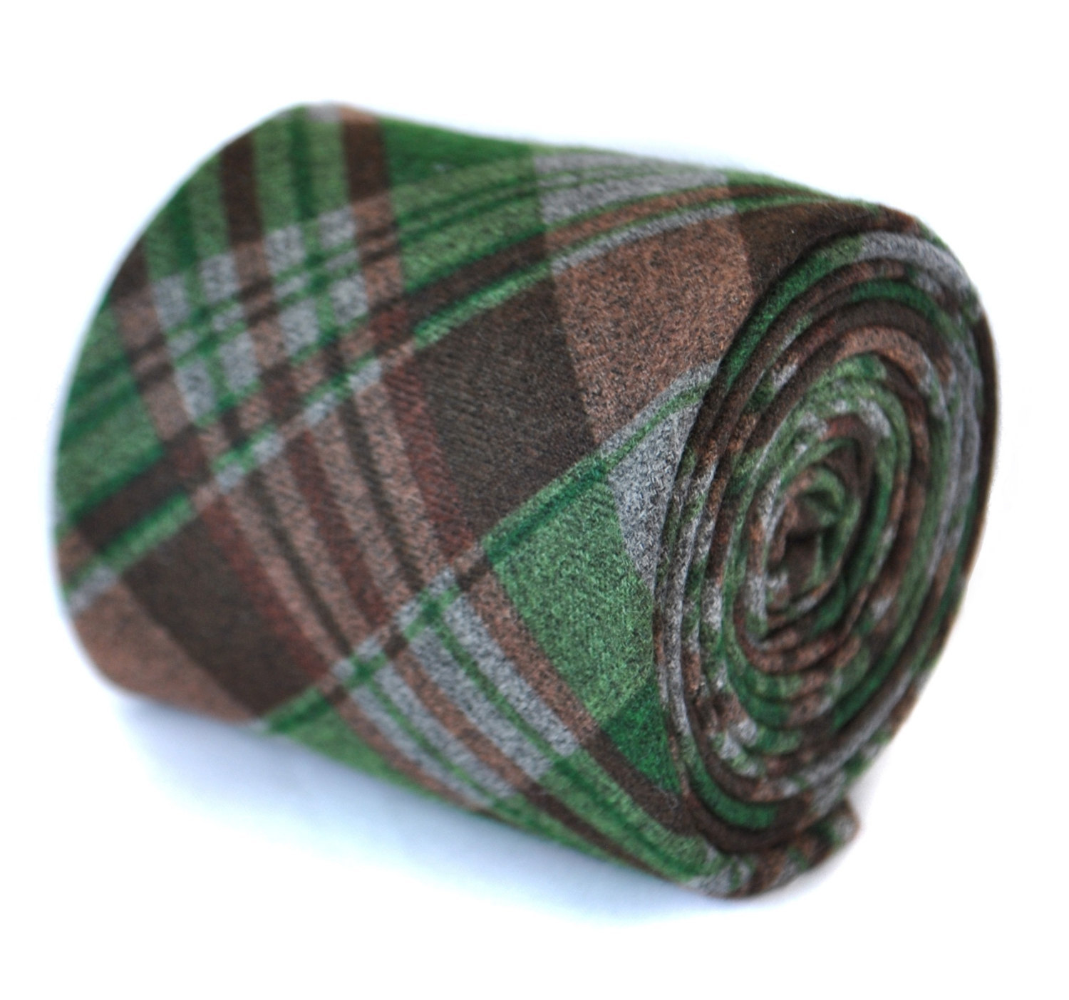 green and brown 100% wool tweed checkered plaid tie by Frederick Thomas FT2081