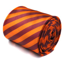 orange and maroon striped tie with signature floral design to the rear by Freder