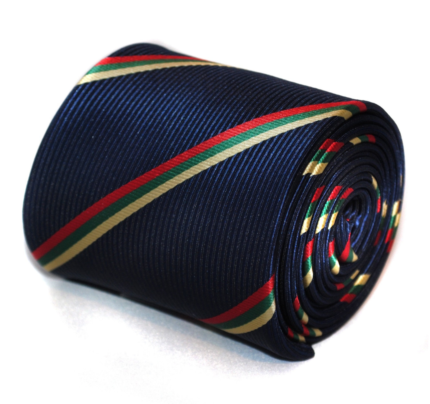 navy with green, yellow and red striped tie with signature floral design to the