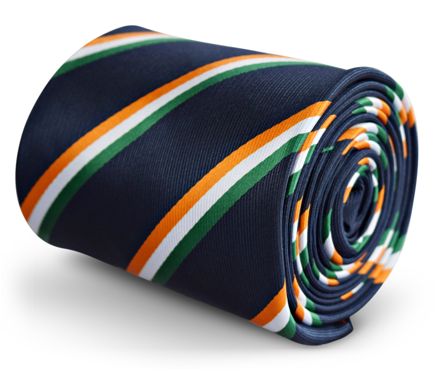navy tie with Irish flag orange, green and white stripe with signature floral de