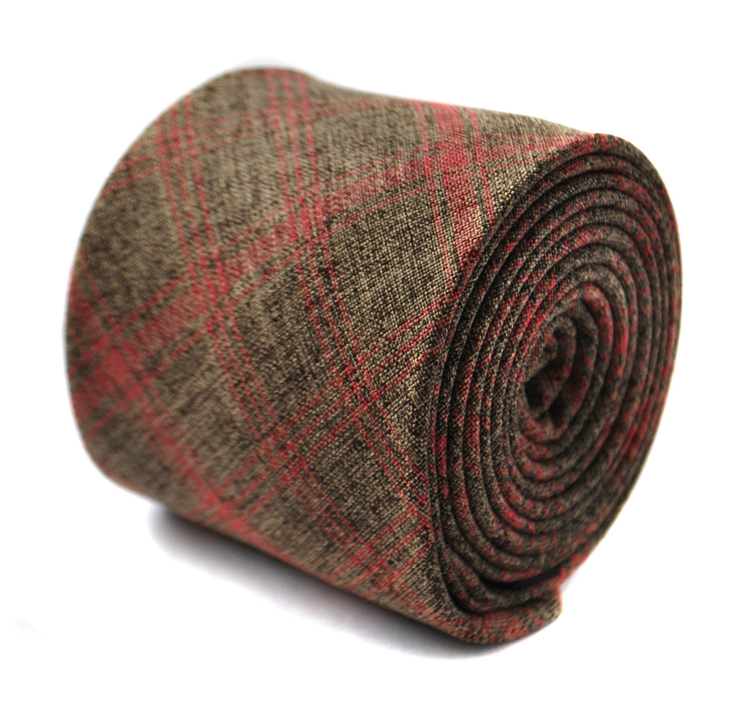 brown and red check linen tie 6.5cm by Frederick Thomas FT2014