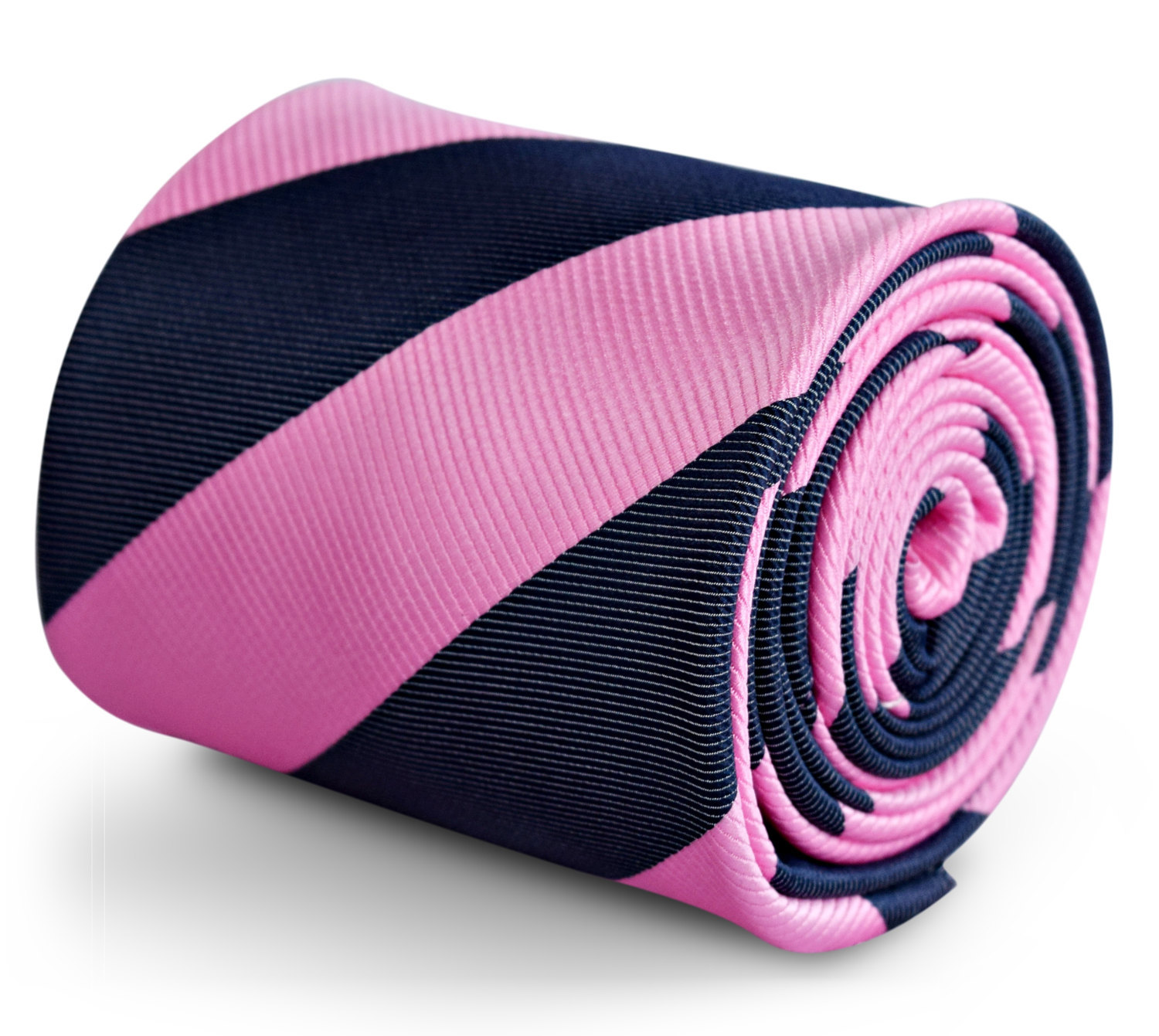 pink and navy blue barber striped tie with signature floral design to rear by Fr