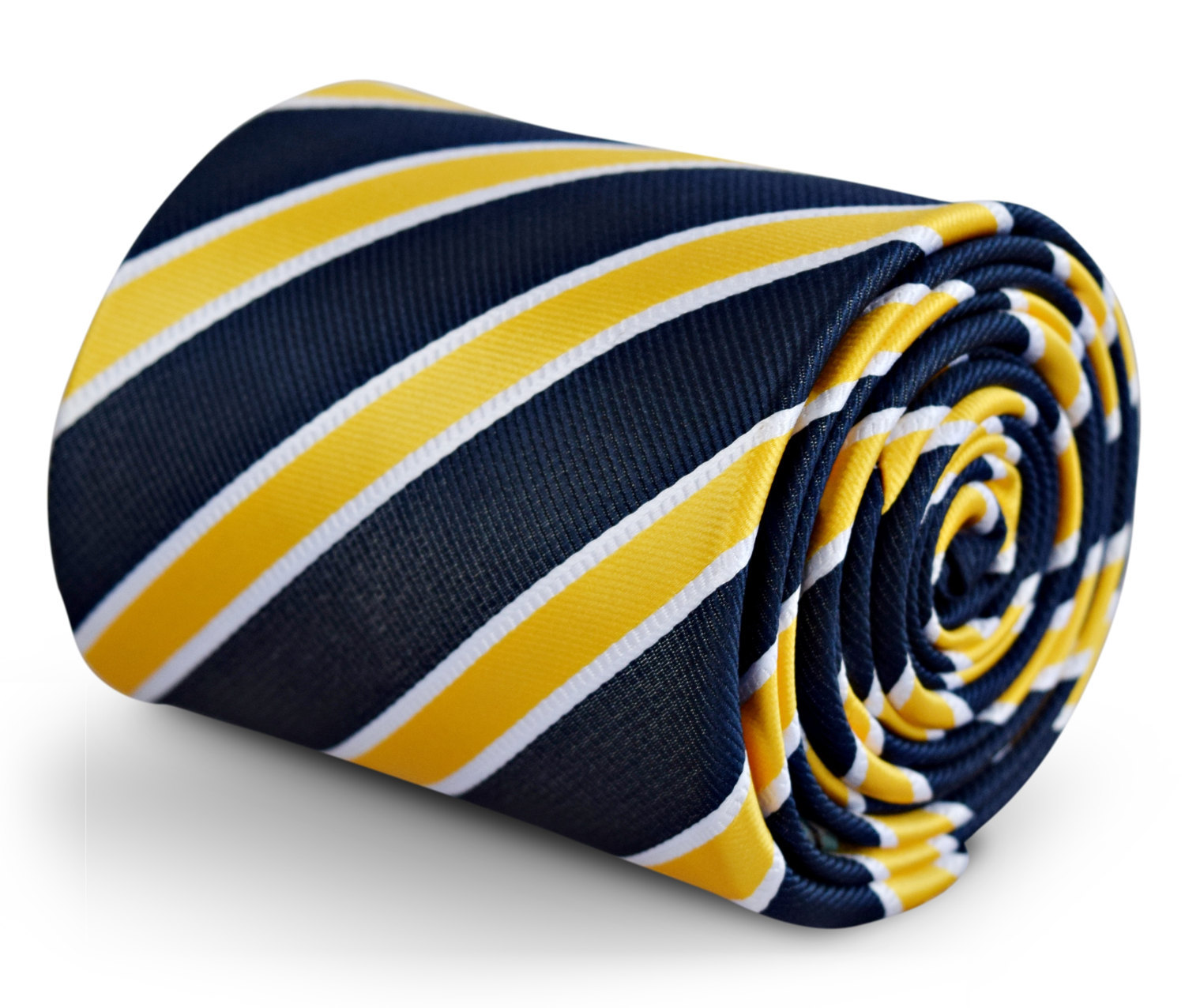 navy tie with yellow and white stripe with signature floral design to the rear b