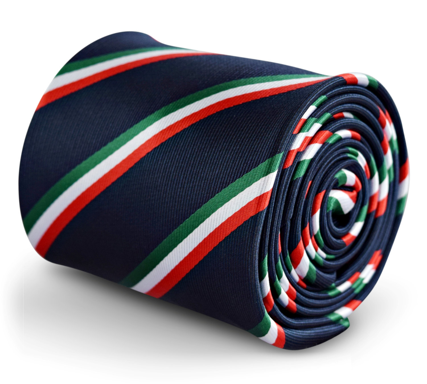 navy tie with Italian flag red, green and white stripe with signature floral des