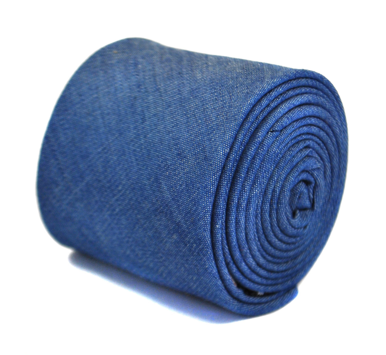 blue denim plain 100% cotton linen tie by Frederick Thomas FT2168