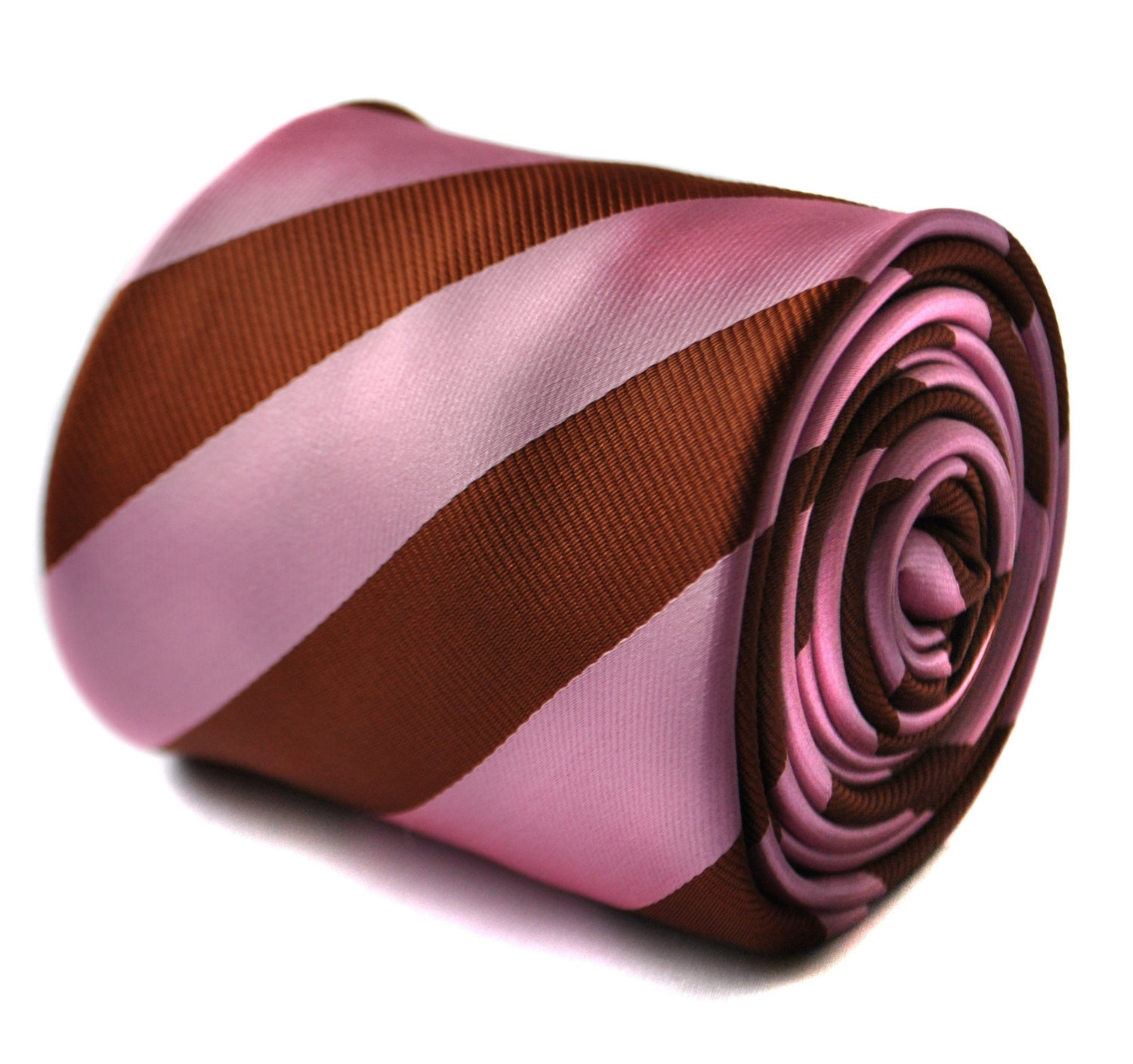 Pink and chocolate brown barber striped tie with floral design to the rear by Fr